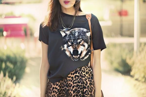 Leopard Print Skater Skirt