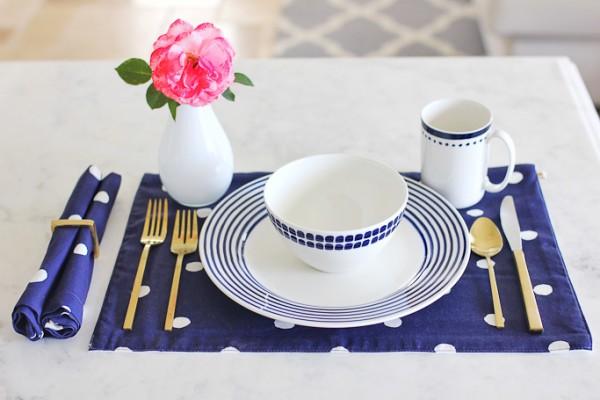 Kate Spade charlotte street dinnerware, West Elm gold flatware, Kate Spade charlotte street polka dot placemat, carerra marble countertops