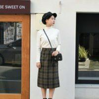 チェックスカートはひざ下丈がポイント。オトナ女子に似合うコーデを大調査☆
