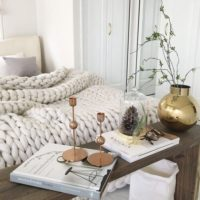 暖かく眠ろう☆チャンキーニットの毛布で秋冬ベッド仕様にチェンジ♪