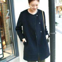 上品シルエットがオトナ女子の魅力♡冬アウターはノーカラーコートで決まり!