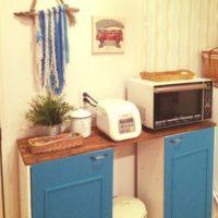 スッキリとしたキッチンを目指して☆カラーボックスでつくるキッチン収納
