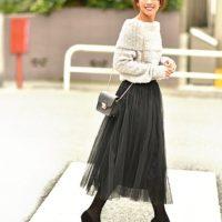 重い配色に軽さをプラス♪フリフリ「チュールスカート」で軽やか冬コーデ♡