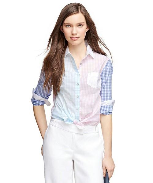ギンガムチェックは何着か持っている…という人は、多色使いのアイテムで勝負!カラフルでも淡い色なら、派手にならず爽やかなイメージになりますね。