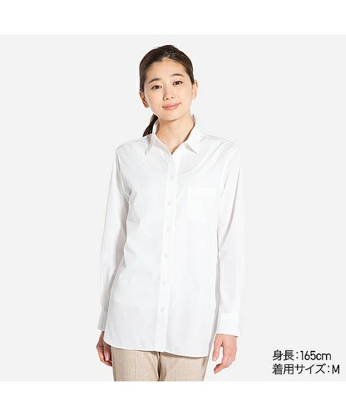 ユニクロの定番にもなっている白シャツ。きちんと感があってオフィススタイルはもちろん、コーデのアクセントに最適な万能アイテム。1枚あると便利!!丈は少し長めでゆったり感があって、着やすさも抜群!!