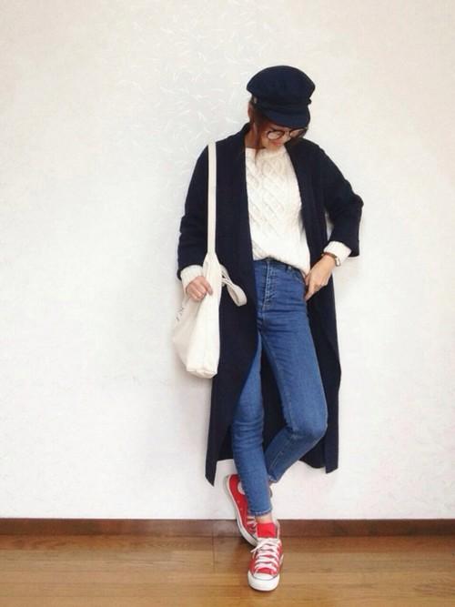 ◆アランケーブルセーター  毎シーズンデザインを変えて発売されるGUのケーブルニット。メンズにもステキなデザインのニットが多く、チョイスする女性が増えています。もともとフィッシャーマンが着ていたセーターですから、マリンスタイルにはピッタリ♪
