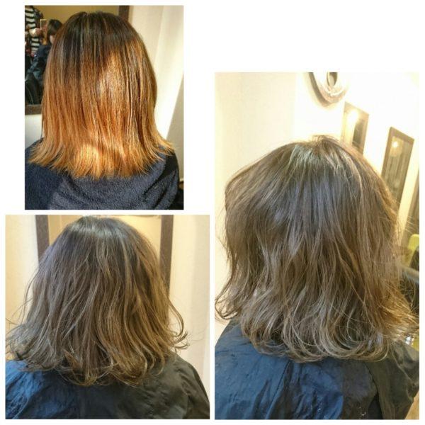毛先に向かって髪色が明るくなっていますね。きれいなグラデーションです。毛先に軽さが出てやわらかな印象に仕上がっています。