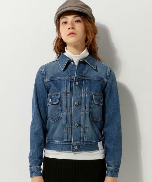 ◆UNITED ARROWS <HYKE(ハイク)> デニム ジャケット  フロントにピンタックを左右2本ずつ入れたデニムジャケット。シャープなシルエットと適度な色落ちが魅力のジャケットです。すっきりと着こなせるコンパクトなサイズ感も人気。