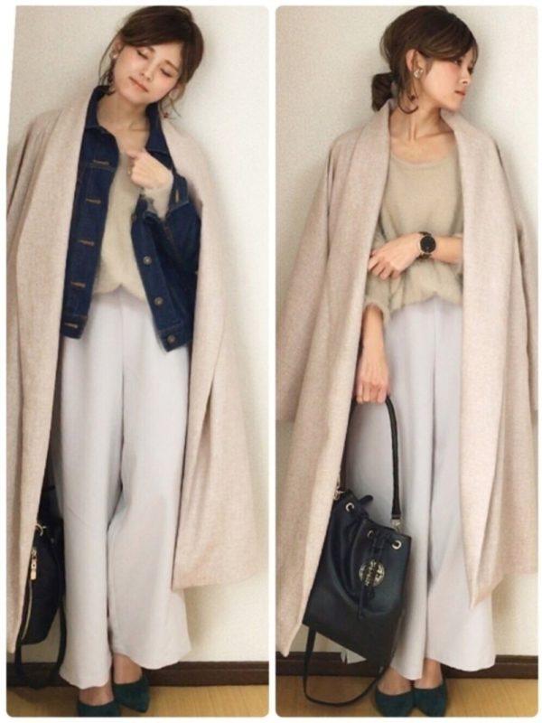 GUのデニムジャケットを使ったコーデ。春の定番デニムジャケットがGUでも登場!!ロングカーディガンの中に着るだけで、お洒落感が高まりますね。まだまだ肌寒いのでレイヤードスタイルで春らしさを。