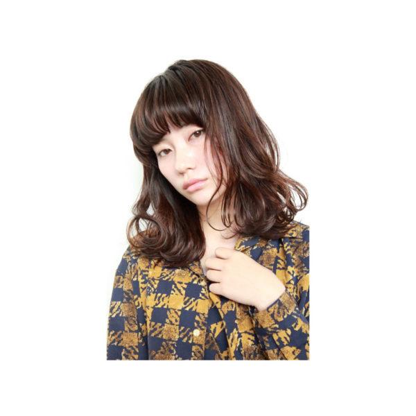 【ミディアム】前髪ぱっつん髪型集9