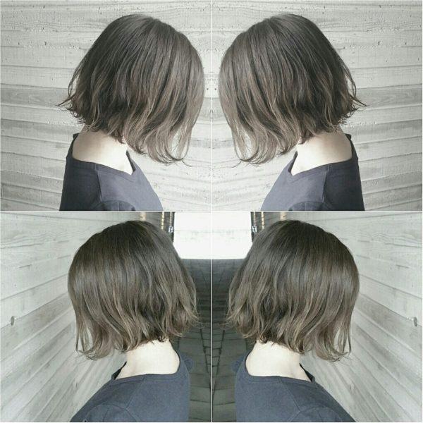 アッシュ系のヘアカラーは、どんなヘアスタイルでもクールになりますね!ワンカールでゆるい感じが素敵ですね!