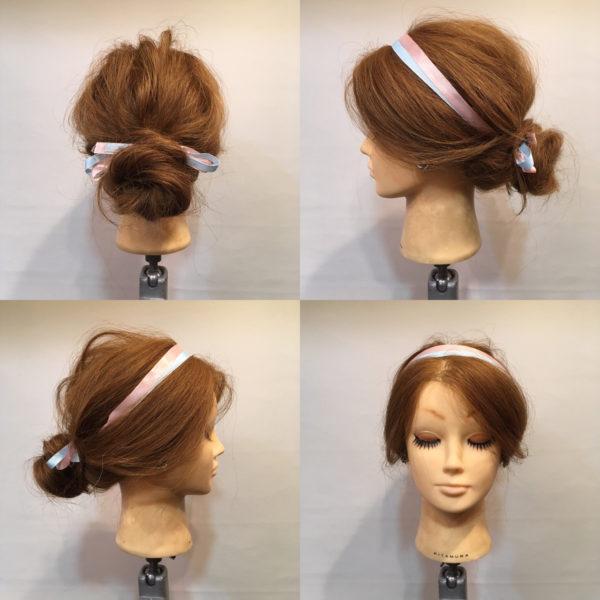 太めのリボンを使ってヘアバンド風にするのもGOOD!2色使いだとさらにオシャレテク度が上がります。
