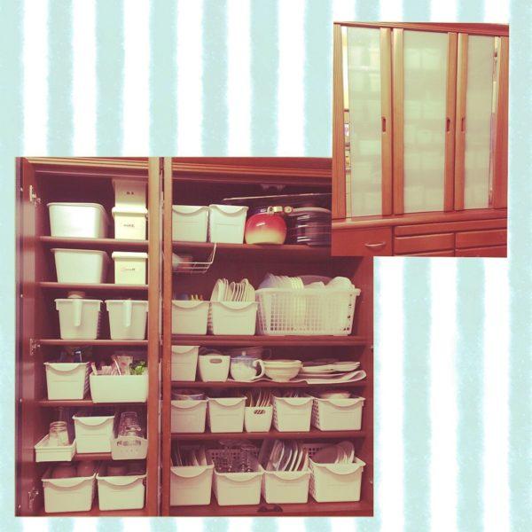 食器の収納にプラスチックケースを使っています。似たような形・大きさ・色のプラスチックケースをいくつも使うことで統一感が生まれ、整然とした印象になります。ケースには食器を入れていくだけなので、使い勝手もよさそうですね。