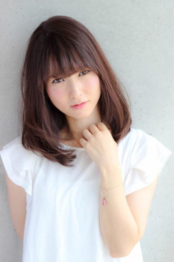 【ミディアム】前髪ぱっつん髪型集8