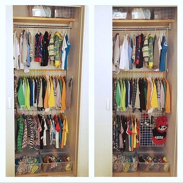 ダイソーの突っ張り棒を使って、収納力を3倍に増やしている実例です。備え付けのクローゼットはすぐに服でいっぱいになってしまいますが、これならいくらでも服をかけられますね。