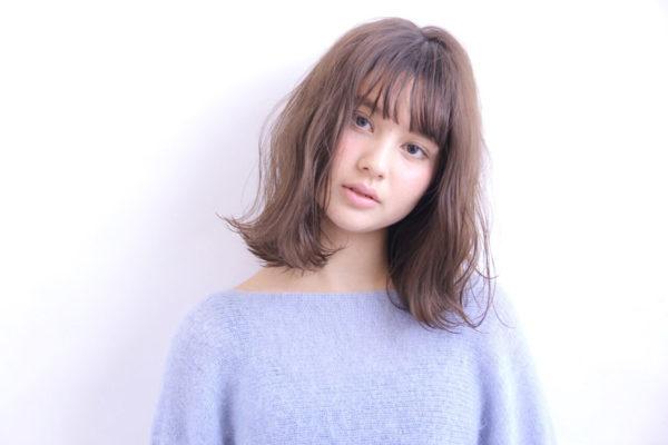 【ミディアム】前髪ぱっつん髪型集16