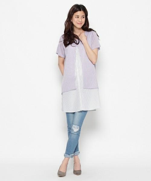 こちらもSHOO・LA・RUE(シューラルー)より、一枚でレイヤード風に着こなせるシャツレイヤード風ニットワンピースです。キレイ色のニットからのぞくストライプのシャツが、とてもさわやかな印象ですね。ひざ上丈なので、大人女子は細身のボトムに合わせて着こなすのがグッドバランス。