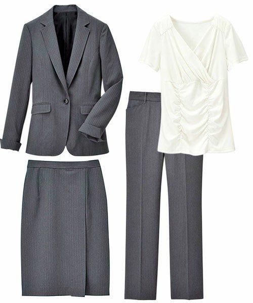 [Ranan]らく伸び!洗える!防シワ多機能4点スーツ  ¥10,789  ジャケット、白無地カットソー、スカートとパンツの4点入り。お家で洗える上に、防シワ加工なので普段のお手入れもラクラクに出来る万能アイテムです!