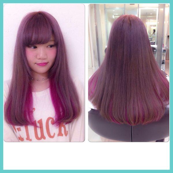上はキュートなピンクでインナーはビビットなピンクにした、可愛いけどカッコイイヘア♪