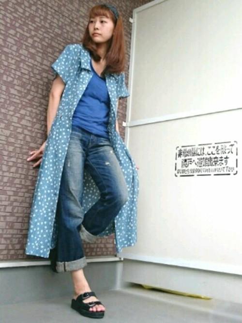 ユニクロならカラーラインナップも豊富なので、手持ちの服と色を合わせやすいです☆ブルーの爽やかさがGOOD!