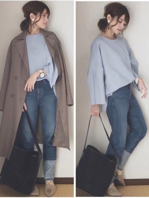 ドレープ素材のロング丈トレンチはラインがきれいで着やすいと評判です。この素材感なら春も重宝しそう!