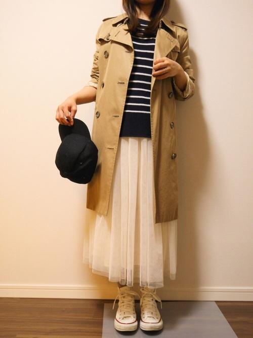 ◆KOBE LETTUCE ボリュームフレアチュールスカート  トレンチコートに合わせるなら白チュールが春らしくていいですね。ボーダートップスに合わせてカジュアルダウン。コートの長さがチュールのボリュームを抑えてくれるから、大人っぽい着こなしになります。
