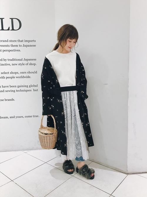 スカートがスカラップレースの白ワンピースに白の小花柄が可憐な黒のニットガウンコートを重ねて、優しい雰囲気のフェミニンコーデ。