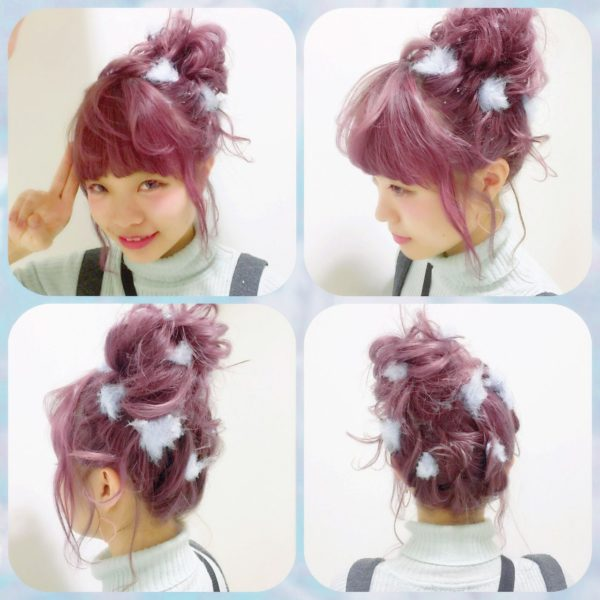 ラズベリーピンクがとってもキレイですね!ルーズなお団子ヘアに羽のようなピュアな髪飾りでデートに行ったら可愛いですね♡