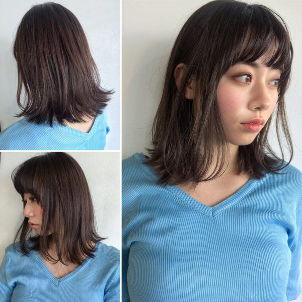 こちらも切りっぱなしの毛先を外はねにしたアレンジ。前髪に丸みがあるのも可愛いですね。はねやすくするように、毛先を少し軽くしておくといいですよ。