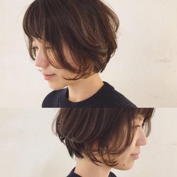 ナチュラルなハイライトでダークトーンの毛先に動きを出して、くせっぽいニュアンスのあるヘアスタイルに。