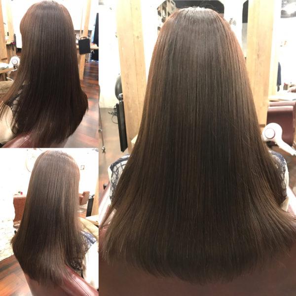ツヤツヤきれいなロングスタイル。毛先を少し軽くしているので、ストレートでも巻いて仕上げるのもアレンジがしやすくおすすめ。長さがあると、大人の女性は暗めカラーにしたほうが女らしく見えますよ。