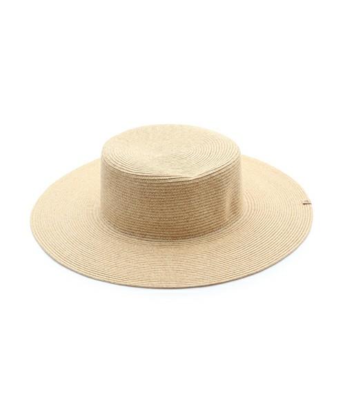 [Mila Owen] ブレードカンカン帽 6,264円 シンプルなストローハットはどんなテイストにもマッチしておすすめ。テイストを選ばないベージュは特に合わせやすいですよ
