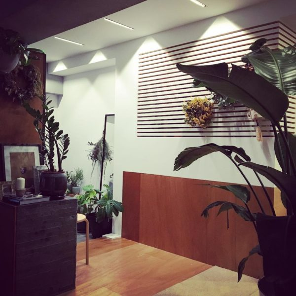 こちらはリノベーション会社のEcoDecoさんが手掛けた玄関です。小物を置くだけと考えがちな玄関に観葉植物がいっぱい並んでいます。植物好きなこだわりが素敵な、癒し空間の玄関になっていますね。