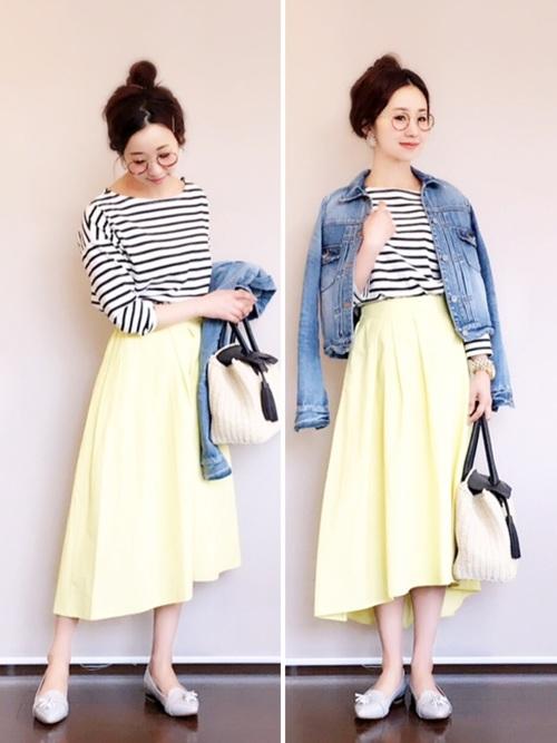 ◆ステップドヘムフレアスカート¥1,490  A+B+Fでコーディネート。アウターはAのデニムジャケットを合わせて活動的に!イエロースカートは、ピンクのスカートとならんで人気です。できれば両方の色をそろえたいですね。淡いレモンイエローは夏まで使えます♪ジャケットを脱いで美術展へ。