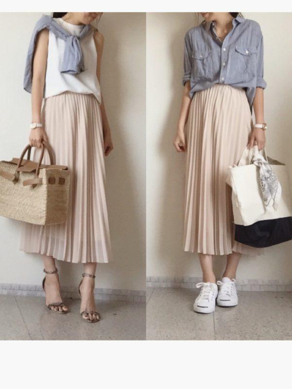 爽やかな色使い&ふんわりスカートで女性らしい魅力を演出。シャツ使いで少しだけピリッと辛口をプラス。足元アイテム使いで印象もガラッと変わります。