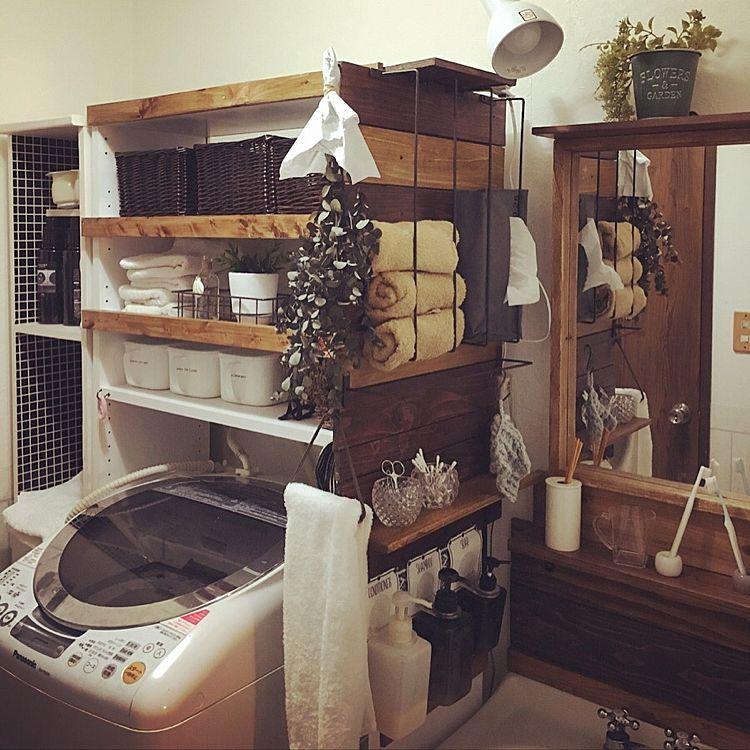 洗濯機ラックを使用した収納例4