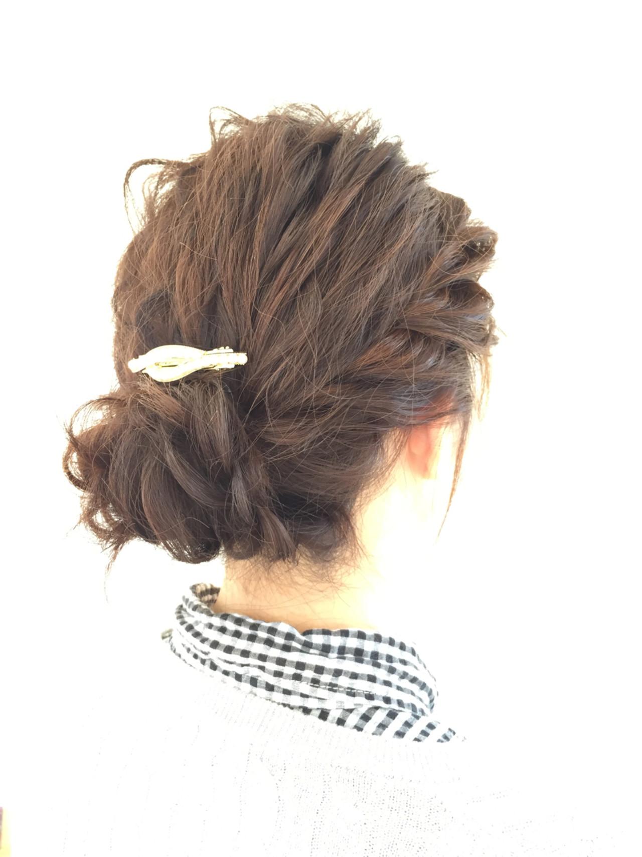 ミディアムヘア 編み込み アップ アレンジ11