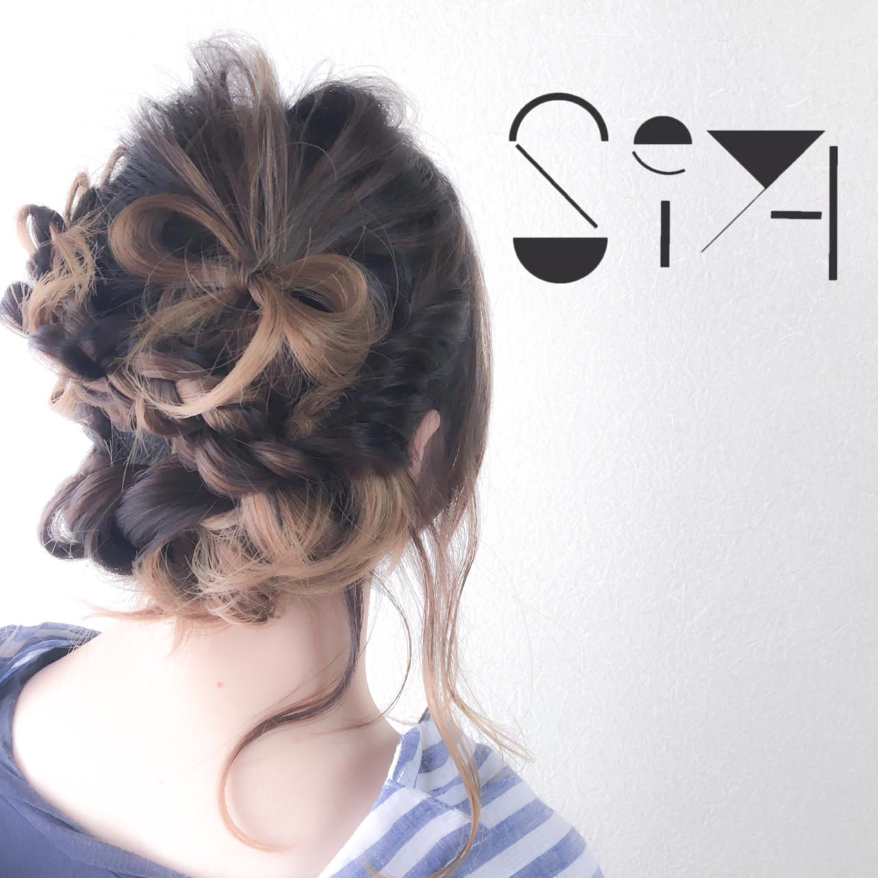 ミディアムヘア 編み込み アップ アレンジ7