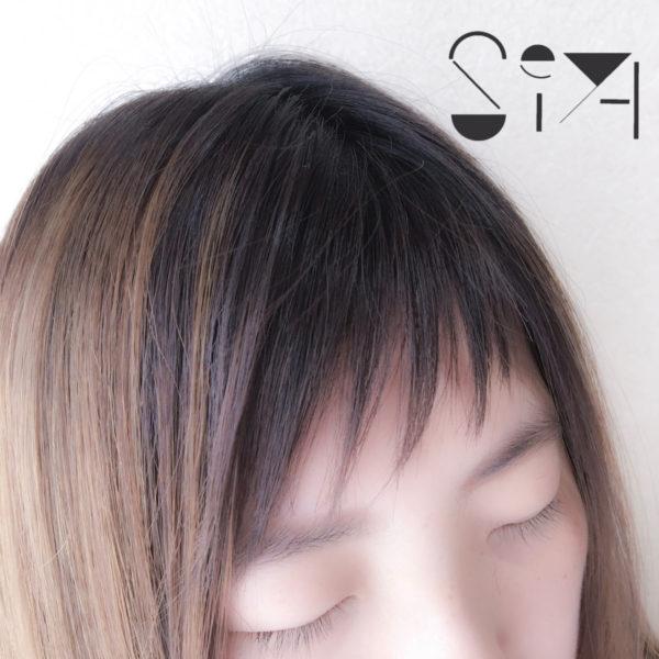 斜め前髪をカットで作る6