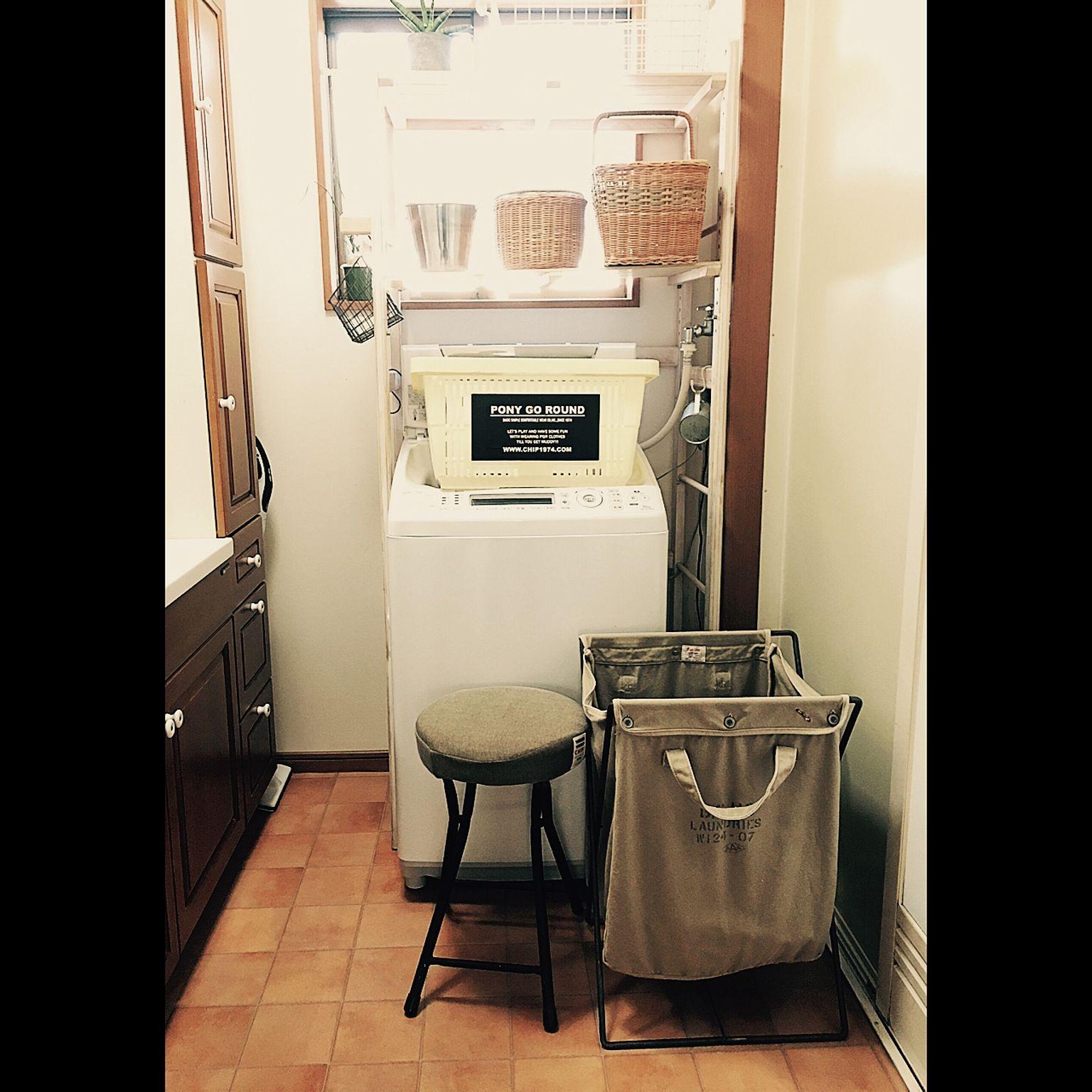 洗濯機ラックを使用した収納例2