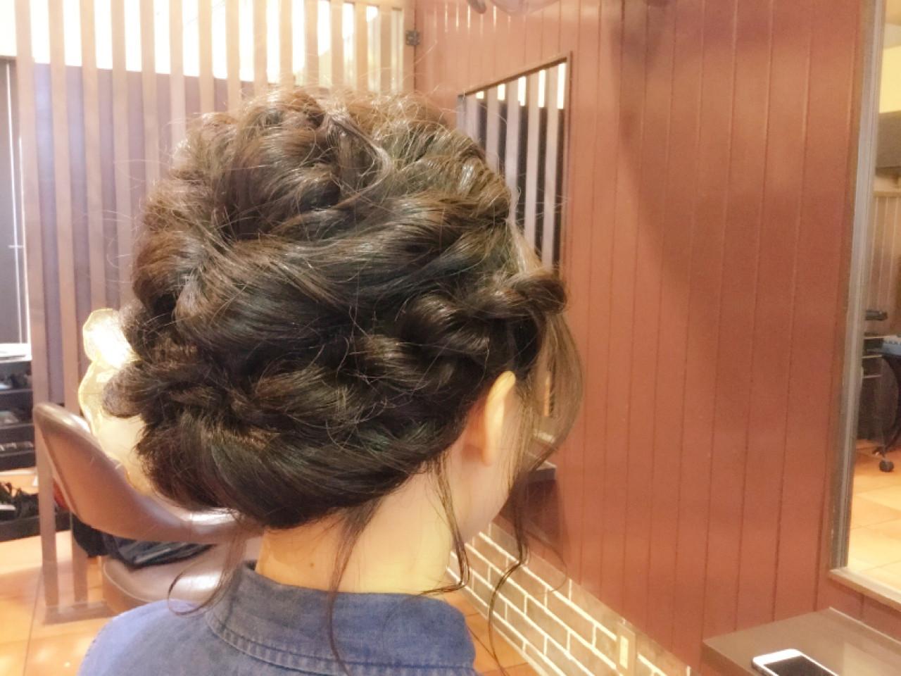 ミディアムヘア 編み込み アップ アレンジ6