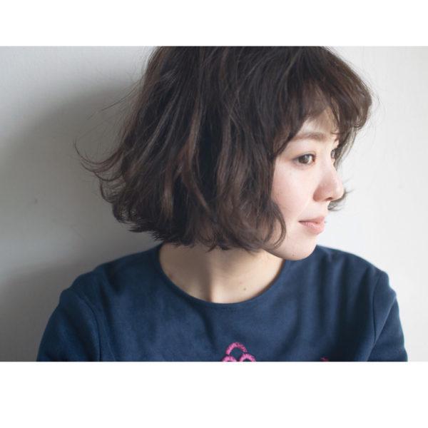 前髪ありのボブパーマ9
