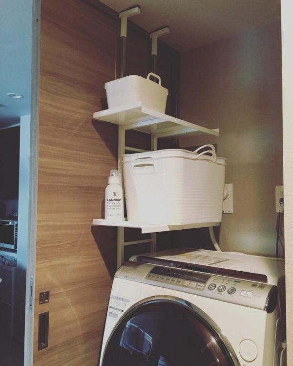洗濯機ラックを使用した収納例7