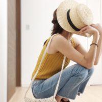 デニム×カンカン帽で夏コーデ☆いつものデニムコーデをもっと夏らしく!
