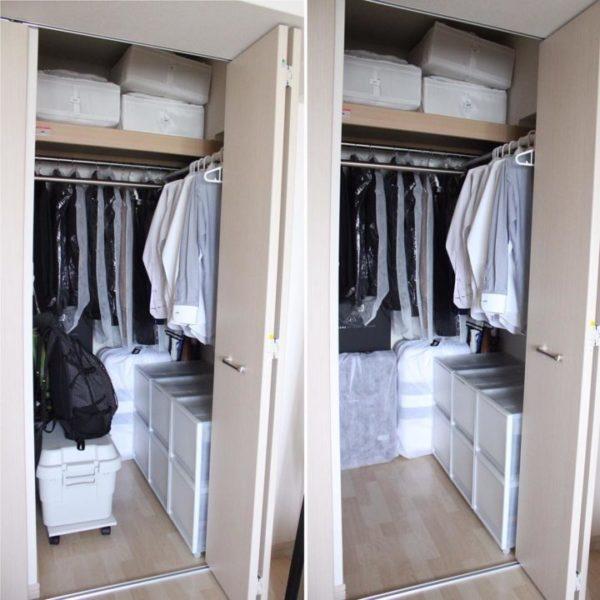 コツ③棚板上のボックスは軽い布製、紙製、バスケットがおすすめ3