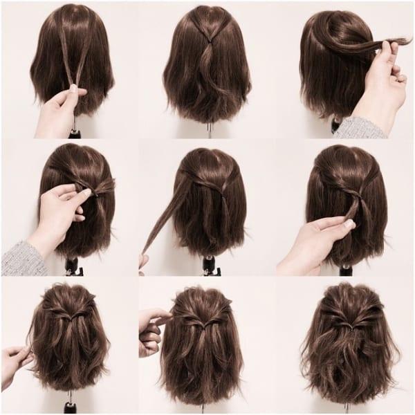 手順は見ての通り。単純なのに、ラグジュアリーに見えるヘアスタイルで