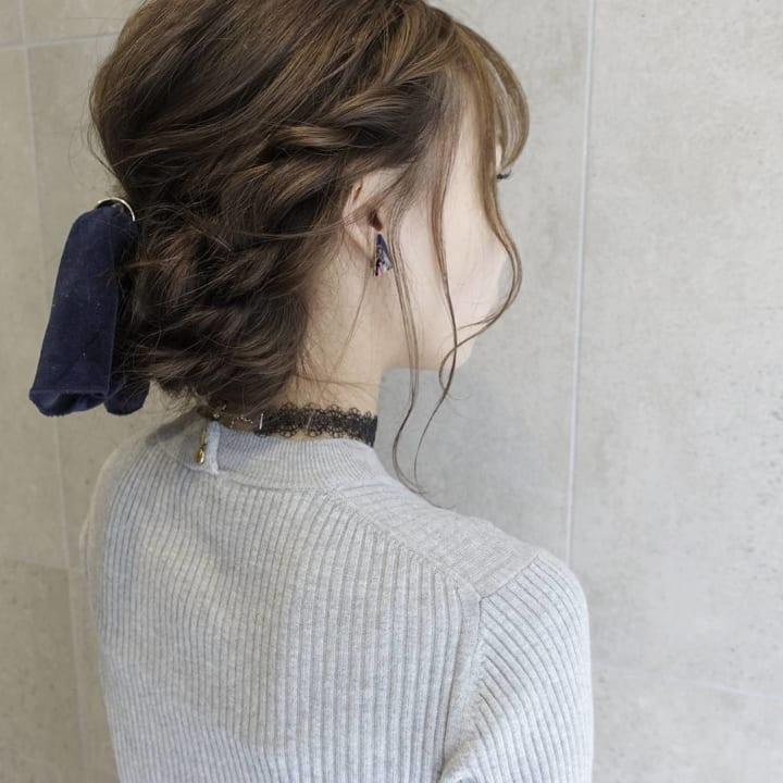 三つ編みシニヨン1
