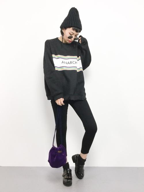 k(ani)|Championのパーカーを使ったコーディネート | 黒 スキニー、スキニー、ファッションコーディネート
