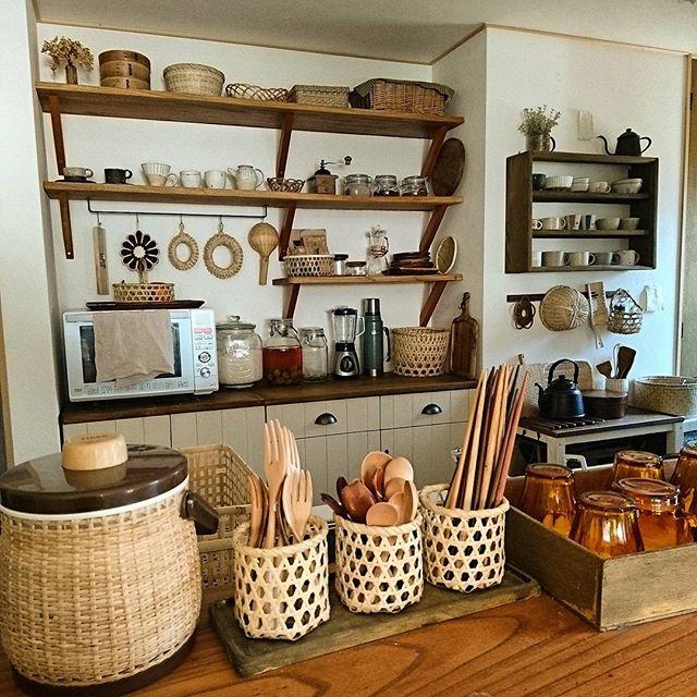 キッチンのかご収納アイデア6