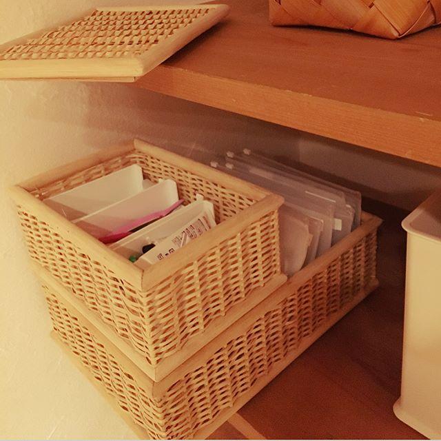 クローゼット、棚のかご収納アイデア4
